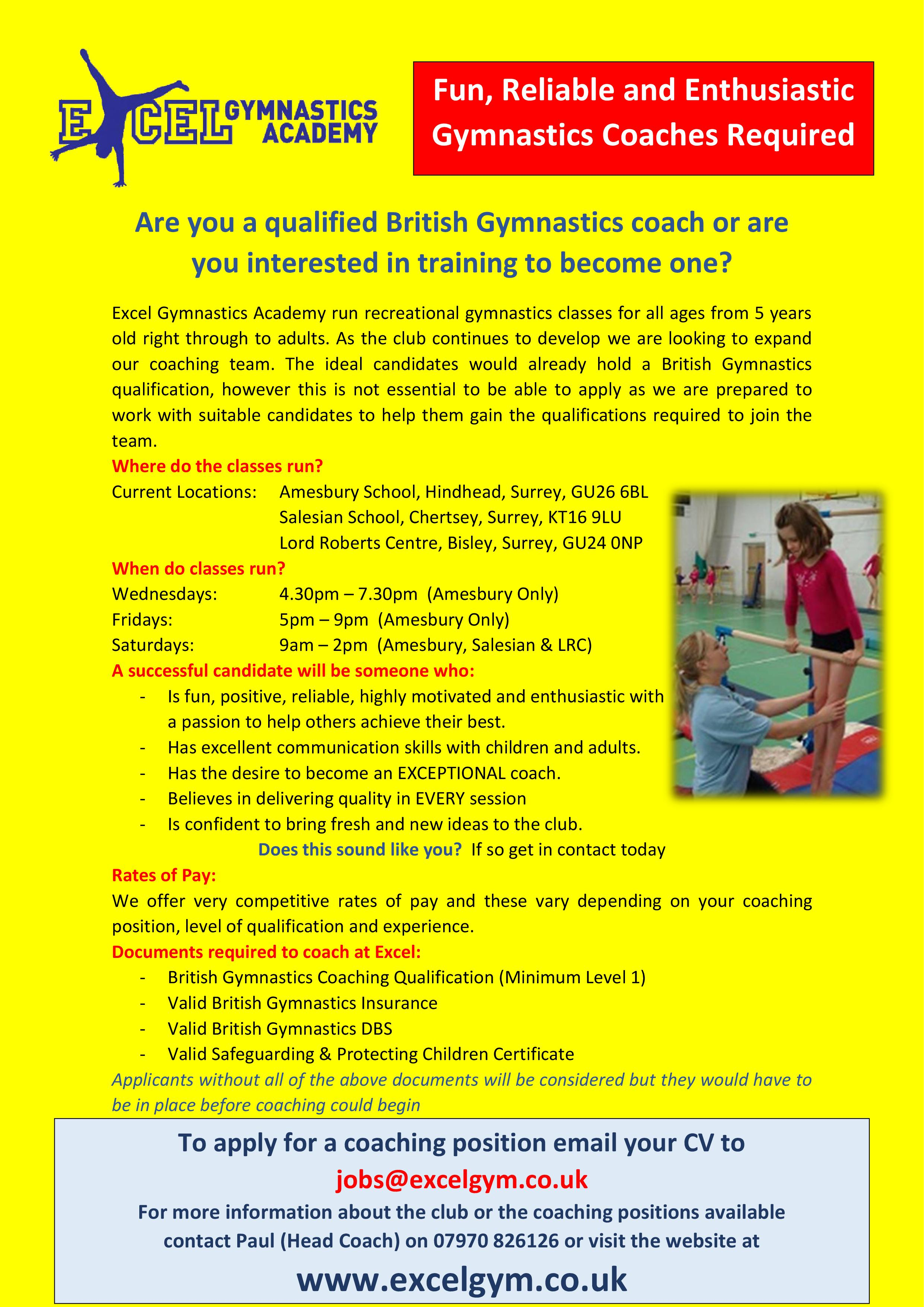 jobs excel gymnastics academy fun and enthusiastic gymnastics coaches required